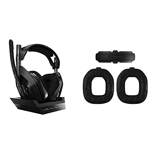 ASTRO Gaming A50, Wireless Gaming-Headset mit Ladestation, Gen 4, Dolby Audio, Game/Voice Balance Control, 9m-Schwarz/Silber & ASTRO Gaming A50 Wireless Mod Kit Gen 4 zur Geräuschisolierung - Schwarz