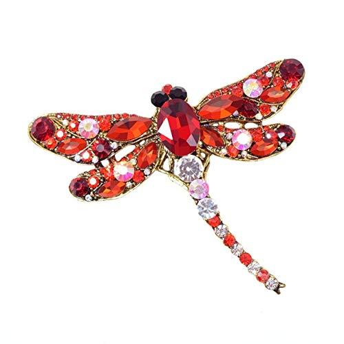 Broches de libélula Vintage de cristal para mujer, broche grande de insectos, Pin de moda, accesorios de abrigo, joyería bonita