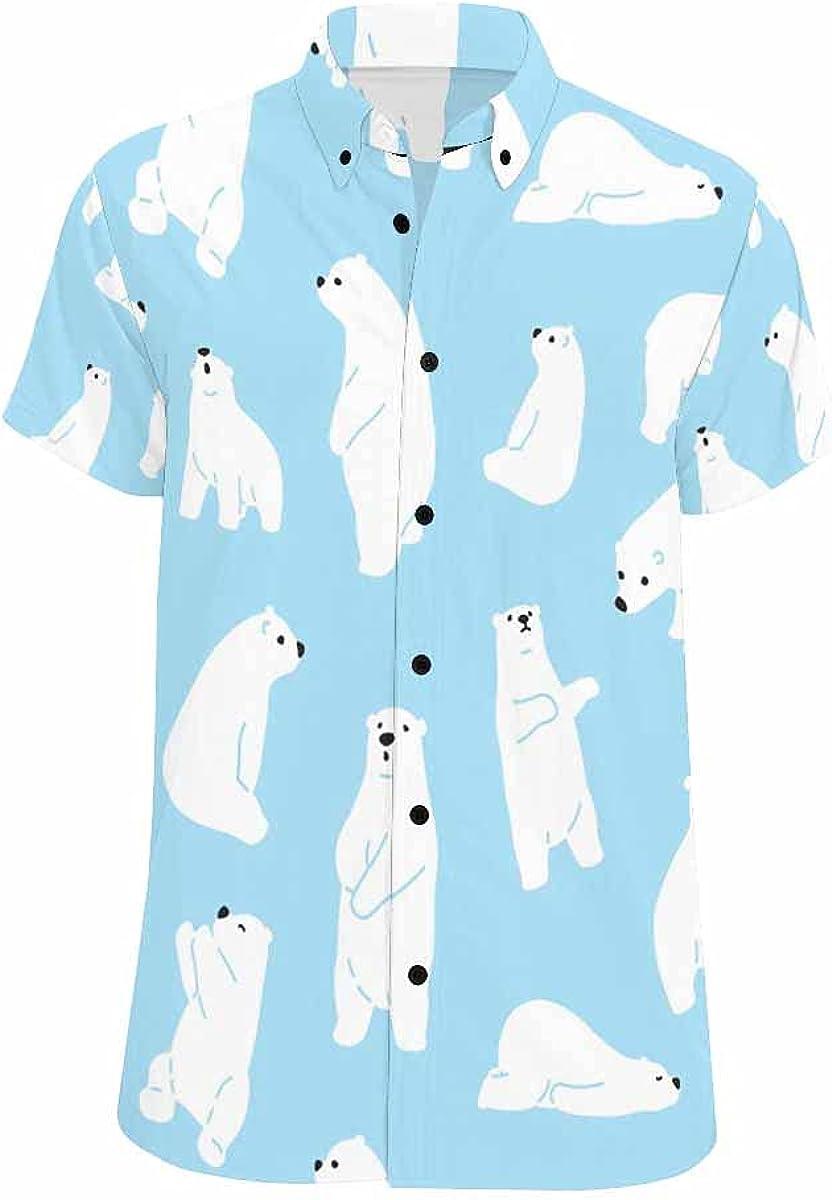 InterestPrint Deer Flowers Relax Spread Collar Tops Hawaiian Casual Beach Shirt for Men