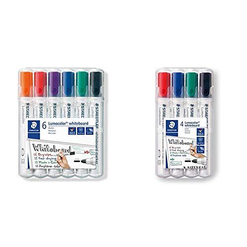 STAEDTLER Lumocolor whiteboard marker, confezione da 6, punta tonda,351 WP6 & Lumocolor whiteboard marker, confezione da 4, punta tonda, 351 WP4
