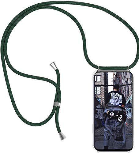 SIMao Funda con Cuerda para Xiaomi Mi 10T Lite 5G Funda con Cadena para Teléfono Móvil con Correa Ajustable Transparente TPU Silicona Carcasa con Collar de Cordón Funda con Cordón de Colgar,Verde