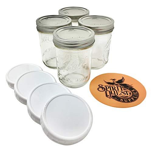 Ball Pint Mason Gläser mit Deckel und Einmachgläseröffner 16oz Wide Mouth - 4 Jar Bundle farblos