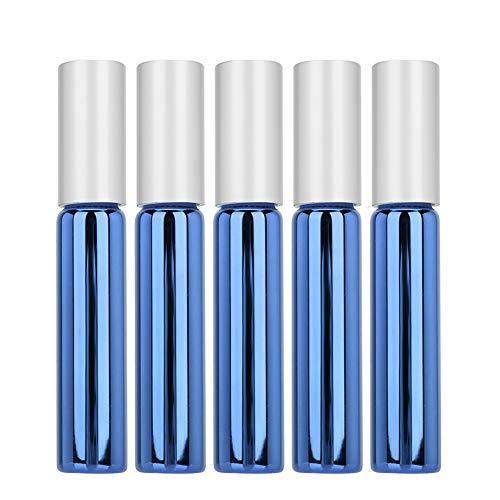 5 pcs Bouteille de Rouleau D'huile Essentielle,en Verre Récipient de Distributeur de Parfum,vide Bouteille D'huile Essentielle Rouleau de Bouteille,pour Lotion Alcool et Autres Liquides (bleu royal)