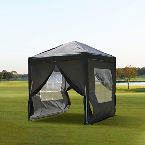 N/Q KJ FURNISHING Pop-up Gazebo with Steel Frame Outdoor Canopy with Removable Side Panels Event Shelter Waterproof Sun Shade for Garden Wedding Party Camping Picnic (2x2m, Grey)