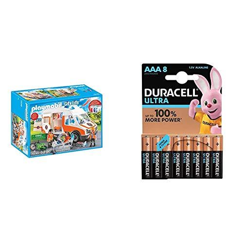 Playmobil City Life 70049 Rettungswagen mit Licht und Sound, Ab 4 Jahren + Duracell Ultra AAA Micro Alkaline Batterien LR03, 8er Pack
