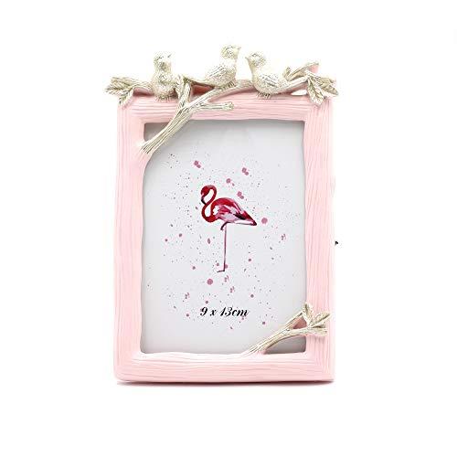 Saidan Portafotos Marco de Fotos Rosa Vertical Golondrinas Doradas Regalo Comunión Bautizo Boda (9 x 13 cm)