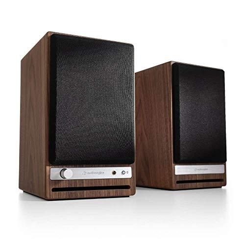 Audioengine HD4 Wireless Speaker Bluetooth | Desktop Monitor Speakers | Home Music System aptX HD Bluetooth, 120W Powered Wireless Bookshelf Stereo Speakers Pair | 24-bit DAC (Walnut)