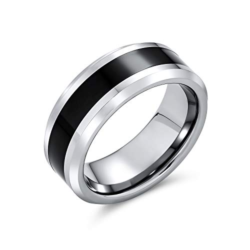 Bling Jewelry Simple Dos Tonos Negro Centro Parejas Titanio