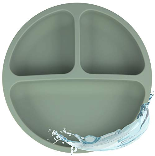 Silikon Teller für Babys und Kinder   Babygeschirr, Rutschfest, BPA-frei, Wasserdicht, Abwaschbar & leicht zu reinigen   Silikonteller Sage (Grün)
