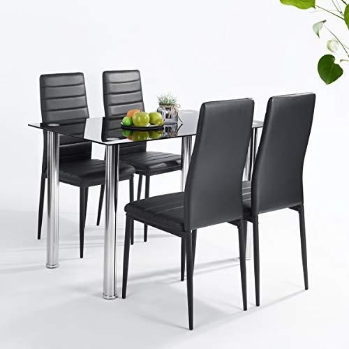 FURNITURE-R France Conjunto de Mesa y Juego de 4 sillas de Comedor, Negro, 110 x 66 x 76 cm