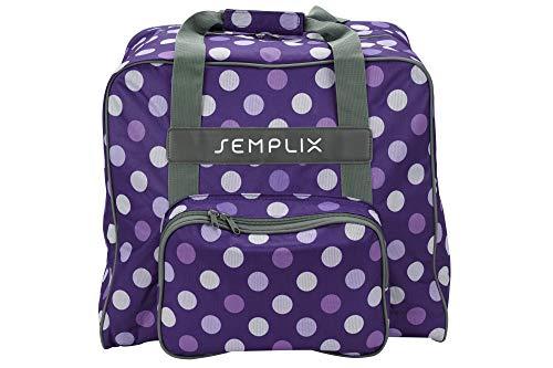 SEMPLIX Overlocktasche/Coverlocktasche Polka Dots, Groß, Stabil, für Transport/Aufbewahrung Aller gängiger Maschinen, Lila/Flieder 44x38x33 cm