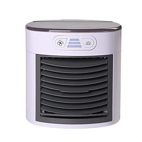BIIII Refrigerador de aire pequeño, mini aire acondicionado portátil, purificador de humidificador de aire con 7 colores LED y 3 velocidades ajustables para el hogar