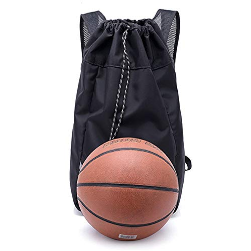 Football Carrying Tote 1 Ball Basketball Bag Leisure Bag Shoulder Adjustable Backpack Drawstring Pocket Fitness Exercise for Basketball Football Volleyball ( Color : Black , Size : 31 x 19 x 55cm )