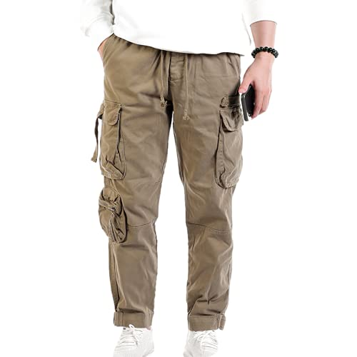 Pantaloni da Lavoro da Uomo Pantaloni Larghi alla Moda con Coulisse Multitasche Pantaloni Elastici in Vita Pantaloni alla Moda Belli 30