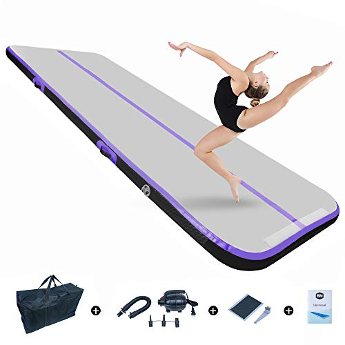 BEYOND MARINA Air Gymnastics Tumble Track 4/8 inches Thickness Inflatable Tumbling Air Mats for Home Use Training/Cheerleading/Yoga/Water(Carbon-Purple, 10'x3.3'x4'')