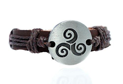 Beaux Bijoux Teen Wolf Derek Hale's Triskelion Bracelet - The Spiral Werewolf Leather Bracelet with Symbol