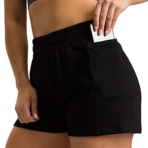 Qtinghua Pantalones Cortos para Mujer, Ciclismo, Correr, Pantalones Cortos Deportivos, Cintura Alta, Gimnasio, Yoga, Entrenamiento, Pantalones Cortos, Pantalones Informales de Playa (Black, X-Large)