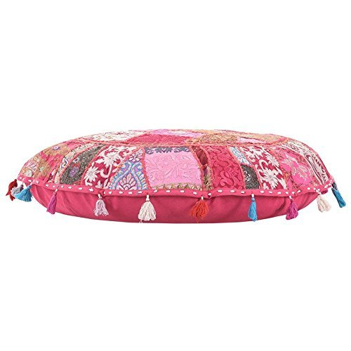 ANJANIYA 32' Beautiful Bohemian Round Indian Patchwork Pouffe Indian Traditional Home Decorative Handmade Cotton Ottoman Patchwork Foot Stool Floor Cushion Embroidered Decorative Vintage (Pink)