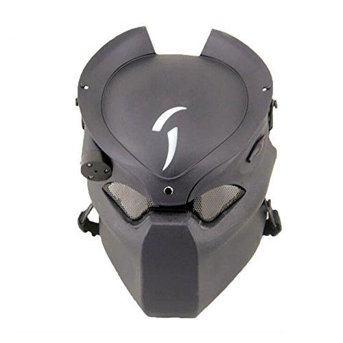 Máscara protectora para Paintball o Airsoft de Worldshopping4U, diseño de Depredador, de metal, con luz infrarroja
