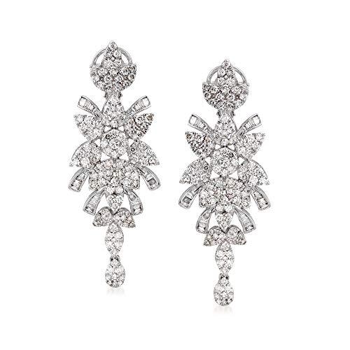 Ross-Simons 3.87 ct. Diamond Drop Earrings in 14kt White Gold   Ross Simmons