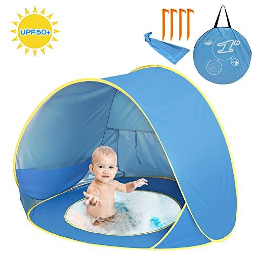Shayson Strandmuschel,Automatisches Strandzelt mit UV-Schutz 50+,Pop up Outdoor Tragbar Wurfzelt für Kinder am Strand