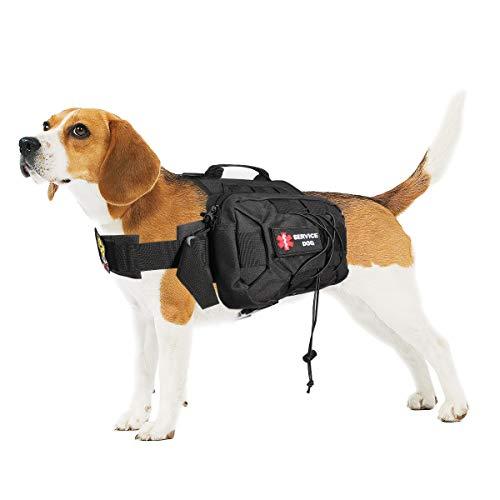 Magibag Mise à Niveau Sac à Dos Tactique pour Chien Ajustable Service Dog Pack Sac de Selle pour Le Moyen - Grand Chien Voyage Camping Randonnée Aventure