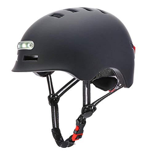 Delaspe Casco de bicicleta ajustable casco de ciclismo con luz LED para...