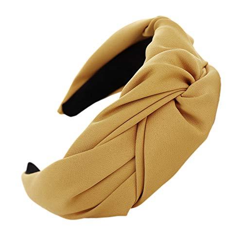 ZHOUBAA Zhouba Stirnbänder für Frauen mit Kreuzknoten und breitem Rand Einheitsgröße gelb