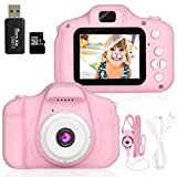 Kids Camera, 1080P Children Digital Cameras, IPS 2 Inch Screen and 32GB SD Card Kid Action Camera Toddler Video Recorder for 3-10 Years Boys Girls Birthday Festivals Gift(Pink)