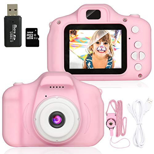 Kids Camera, 1080P Children Digital Cameras, IPS 2 Inch Screen and 32GB SD Card Kid Action Camera Toddler Video Recorder for 3-10 Years Boys Girls Birthday Festivals Gift (Pink)
