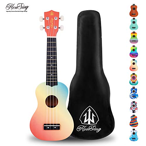 Honsing Kids Ukulele,Soprano Ukulele Beginner,Hawaii kids Guitar Uke Basswood 21 inches with Gig Bag- Rainbow Stripes Color matte finish