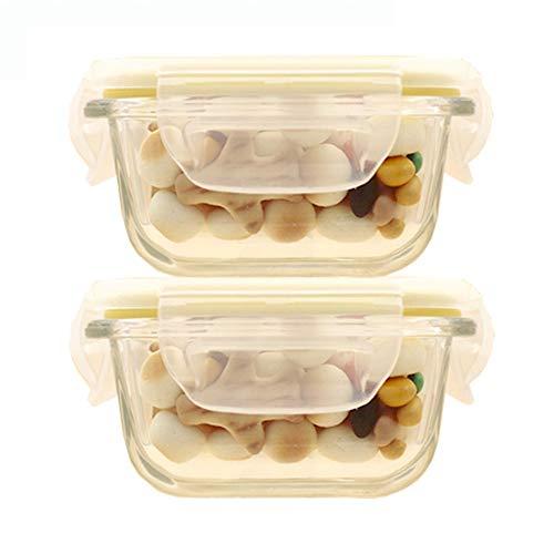 QLSN Baby-Frischhaltedose Glas Aufbewahrung Luftdicht Tragbare Komplementäre Box Glaskonservierungsbox Mini Gefrierbox 2 Stck