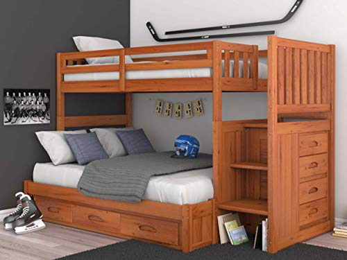 Mission Twin Over Full Staircase Bunk Bed with 3 Drawers in Honey Finish