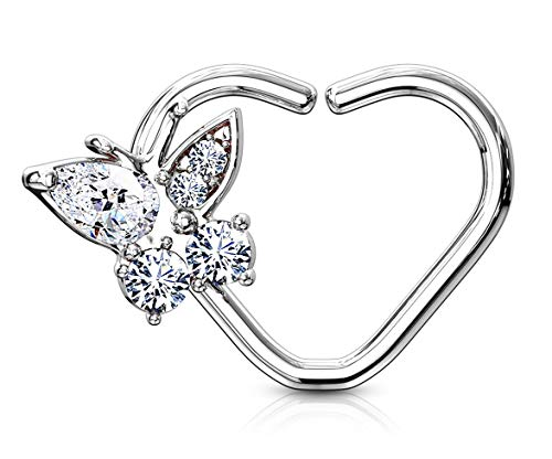 Forbidden Body Jewelry Platinum Plated Heart w/CZ Butterfly Daith & Cartilage Hoop Earring (Right Ear)