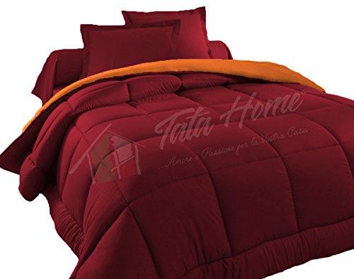 Judit Trapunta Tinta Unita Duble Face Invernale Imbottita 350 gr/mq 100% Morbida Microfibra di Poliestere Misura 1 Piazza Letto Singolo 180x260 cm Colore Bordeaux Arancio