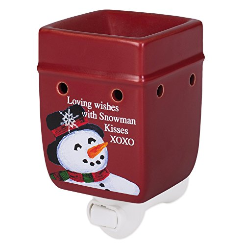 Elanze Designs Classic Snowman Winter Wonders Red Christmas Ceramic Stone Holiday Plug-in Warmer