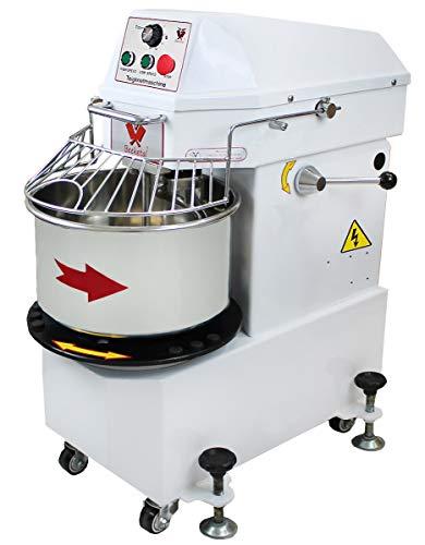 Beeketal 'BTK30' Profi Teigknetmaschine 30l auf Rollen, mit Spiralkneter und rotierender Schüssel (Knethaken 100 oder 156 U/min, Schüssel 12 oder 18 U/min), 30l Gesamtvolumen für max. 12 kg Mehl