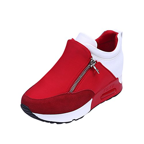 Damen Sneaker Mädchen Mode Laufschuhe Freizeit Leder Freizeitschuhe Sportschuhe mit Reißverschluss… (41 EU, Rot)