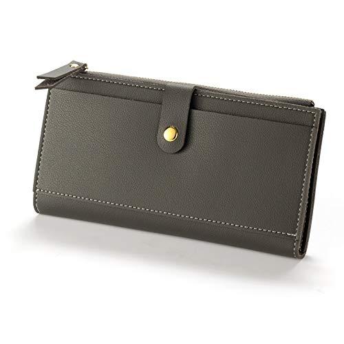 Yi-xir Bolso favorito para mujer de piel difusa para mujer, estilo vintage, monedero de cuero, tarjetero para tarjetas de crédito, monedero, bolsillo diagonal, color gris oscuro, tamaño: mediano)