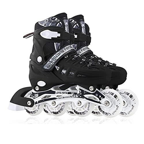 YPYGYB Inline Skates Für Kinder Und Herren Damen, Rollschuhe Quad-Skates für Jungen Mädchen, Rollerskates 31-46 Einstellbare Schuhgröße, Rollerblades für Erwachsene Anfänger,schwarz-L39-42