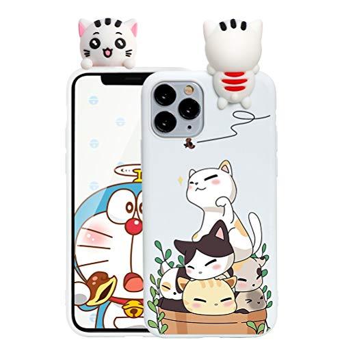 ZhuoFan Custodia Apple iPhone 7 Plus con 3D Cartoon Doll, Sottile Bianca Back Bumper Cover Silicone con Print Gatto Pattern Shockproof Protettiva Phone Cases per Apple iPhone 7Plus / 8Plus, Gatto 02