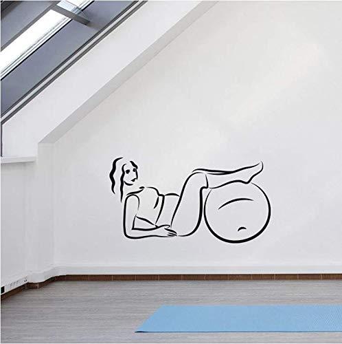 Behang voor vrouwen, zwangere oefeningen, yogabal, sport, vinyl, ramen, glas, yoga, room-interieur, muurkunst, 57x30 cm