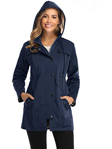 Summer Mae Damen Regenjacke Windbreaker Wasserdicht Kapuze bergangsjacke mit Atmungsaktiv Futter für Frühling Sommer, L, Navy