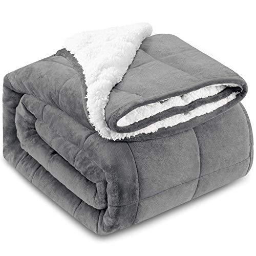 HBselect Gewichtsdecke Therapiedecke Sherpa Weighted Blanket Oeko-TEX® 100 Standard beschwerte Flauschige Decke, Füllmaterial von Premium Glaskügelchen, Schlaftiefe zu verbessern