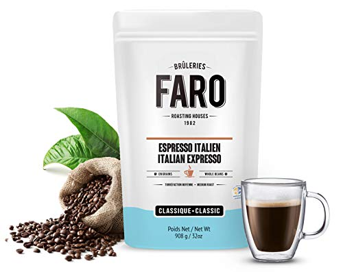 Faro Roasting House Italian Espresso Forte Whole Coffee Beans 2lb, A Luxury Bean For The Perfect Espresso Coffee - Strong And Rich Whole Bean Coffee - Fresh Medium Roast Coffee Beans (2 Pound Bag)