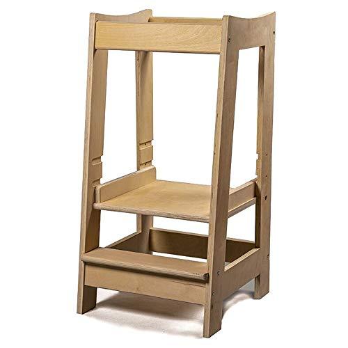 Imagen para Torre de Aprendizaje Montessori para niños con altura ajustable y barra de seguridad (madera maciza) Madera natural