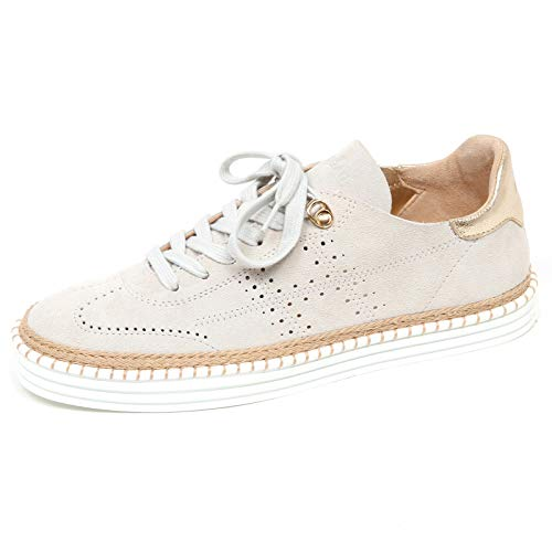 Hogan E9094 Sneaker Donna Light beige R260 Scarpe forata Perforated Shoe Woman [40]