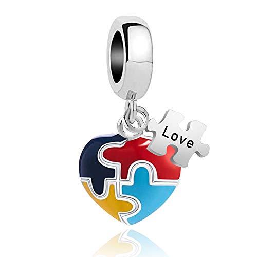 UNIQUEEN Love Autism Awareness Puzzle Piece Heart Charms Bead fit Charm Necklace Bracelet