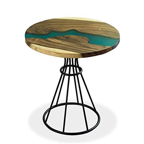 BHJqsy Furniture coffee table epoxy living room table desktop river pattern black peach metal coffee table living room round side table Nest Tables