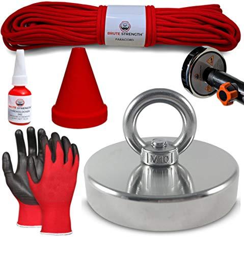 Magnetfischen Set - 400KG / 90mm | Inklusive 20m Seil, Handschuhe, Schraubensicherung, Magnetkappe und Adapter fur Teleskopstange | N52 - Ösenmagnet - Magnetangel - Magnet angeln